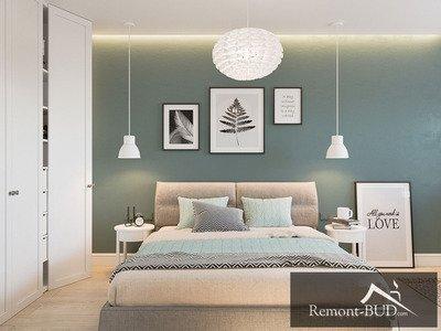 Спальня с бирюзовым акцентом