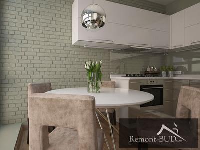 Кухня в современном стиле с оливковым акцентом