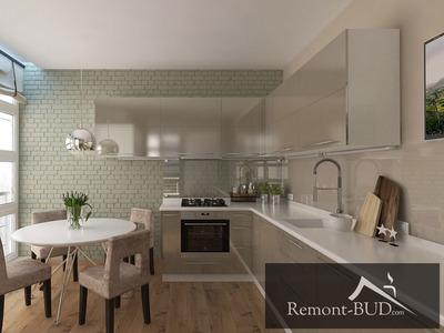 Кухня в сучасному стилі з оливковим акцентом