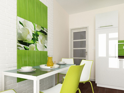 Кухня с элементами зеленого