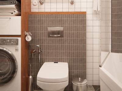 Ванна кімната з елементами дерева
