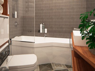 Ванная комната с элементами дерева